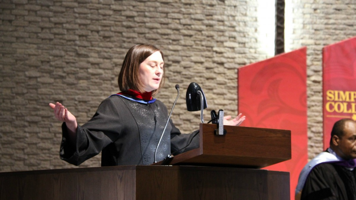 Chaplain Mara Bailey helped a group of students organize this year's baccalaureate. At Smith Chapel, it will offer a quiet, intimate gathering for seniors the day before graduation at 7 p.m. April 28. (Photo: Stephanie Woodruff/The Simpsonian)