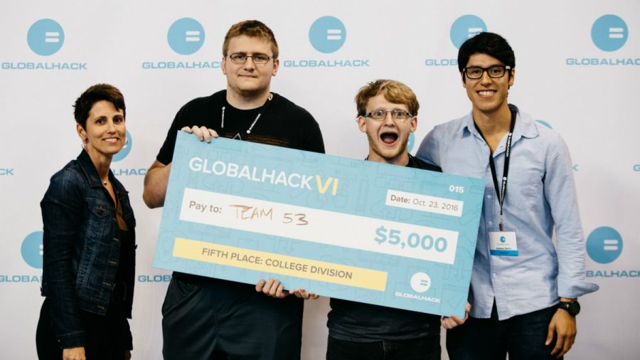 Tyler Godfrey, Nate Hayes and Esteban Sierra taveled to St. Louis to participate in a hackathon event. Their task was to help homeless people, and their solution placed them fifth overall and $5,000 in prize money. (Photo: Courtesy of Nate Hayes)