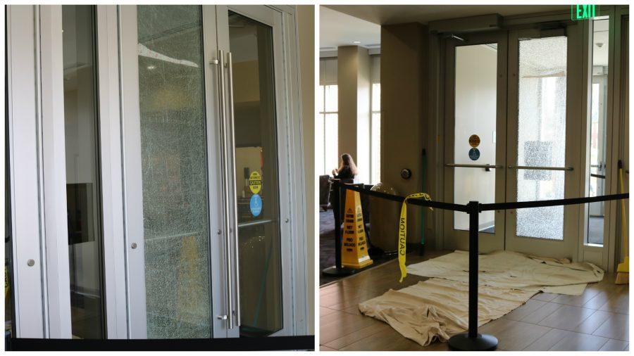 Kent Campus Center door cracks
