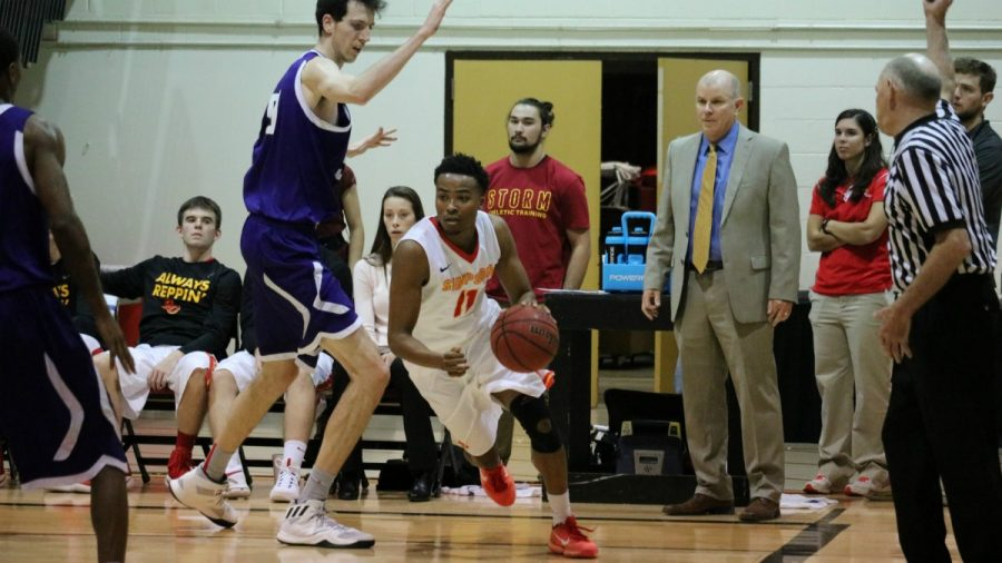 With a win over Gustavus Aldophus on Nov. 26, senior Austin Turner scored 19 points, a career high. Turner was the top of scorer and one of four Storm players to score in double digits. (Photo: Jayde Vogeler, Photography Editor/The Simpsonian)