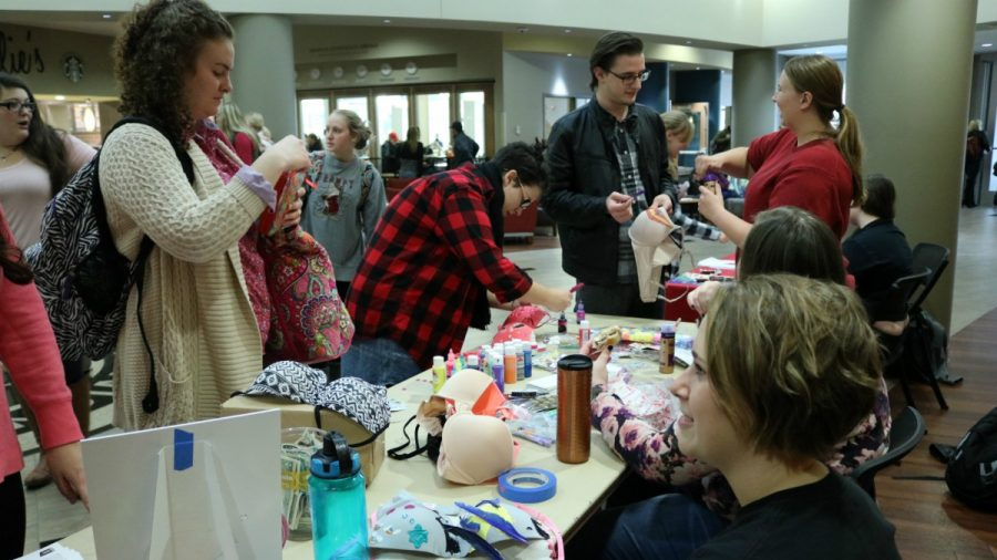 Students and faculty decorated bras in Kent Campus Center, sponsored by the Feminist Club. The bra drive supported past breast cancer patients and survivors. (Photo: Jayde Vogeler, Photography Editor/The Simpsonian)