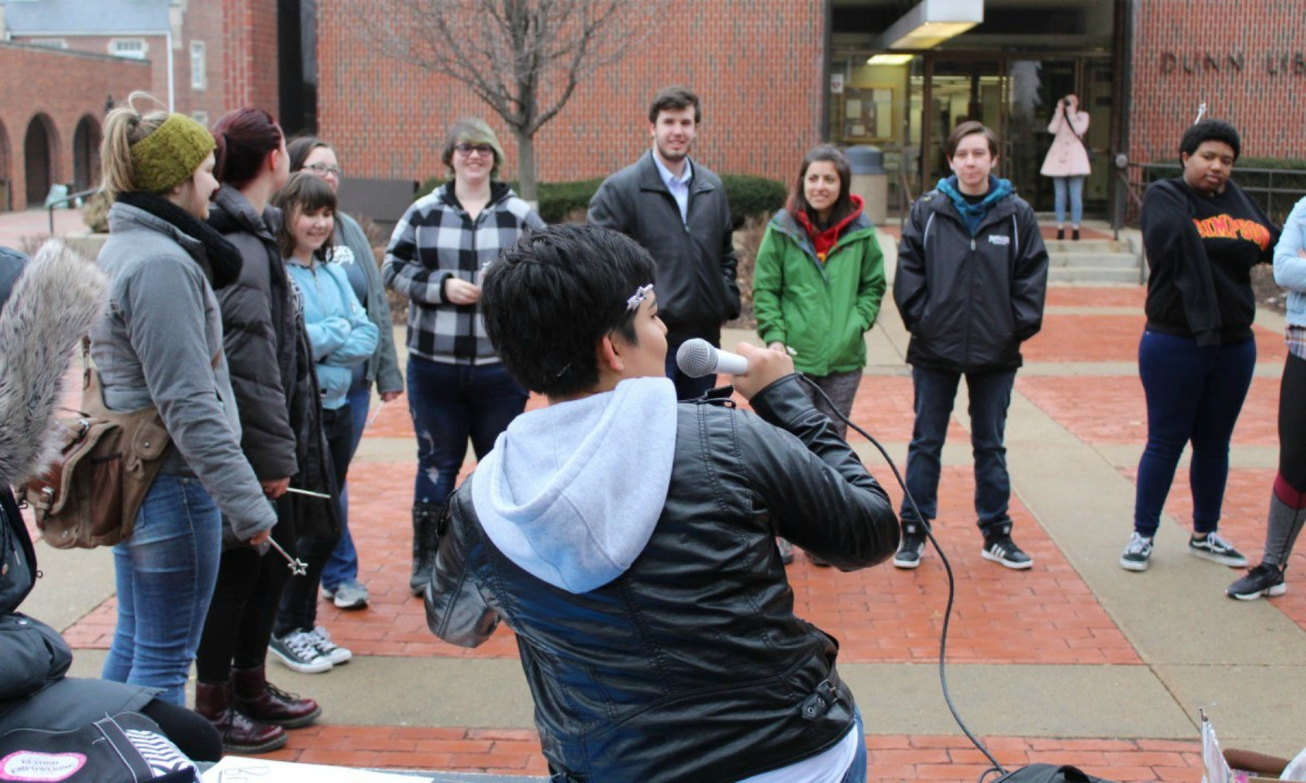 Junior Natalia Rose led a protest last semester in the wake of two racial incidents which caused several students to feel unsafe on campus. Photo by Emily Carey/The Simpsonian