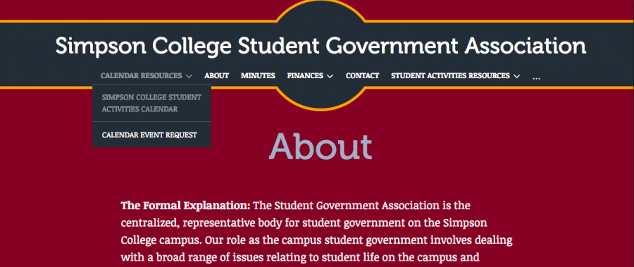 Students can now keep track of Simpson events and organization meeting times with the Student Government Association's newly launched event calendar on the SGA website. Image from SGA website