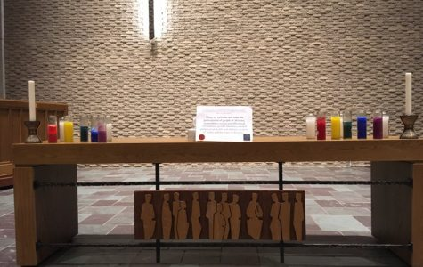 Photo courtesy of Jonathan Cox | RLC displayed its statement of welcome with rainbow candles after the General Conference made its decision.