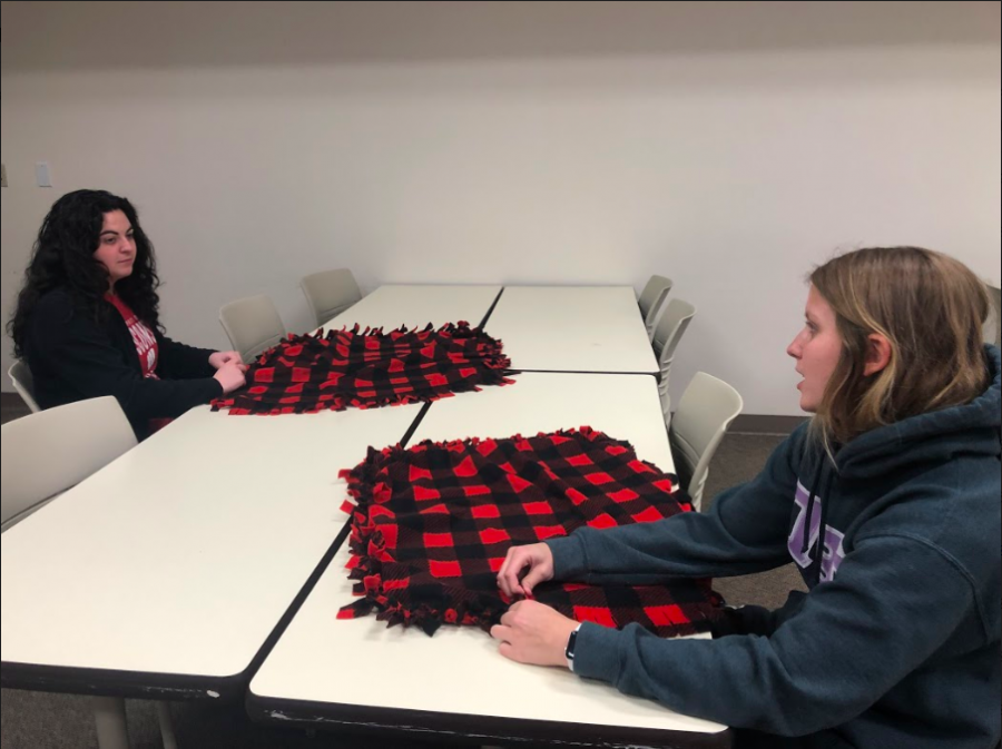Photo by Devon Wood | As a part of Better Together Week, Simpson students made blankets and other toys to help animals in Indianola animal shelters.