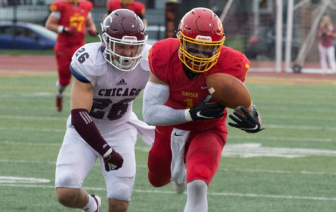 Sam Bartlett catches the ball against University of Chicago.