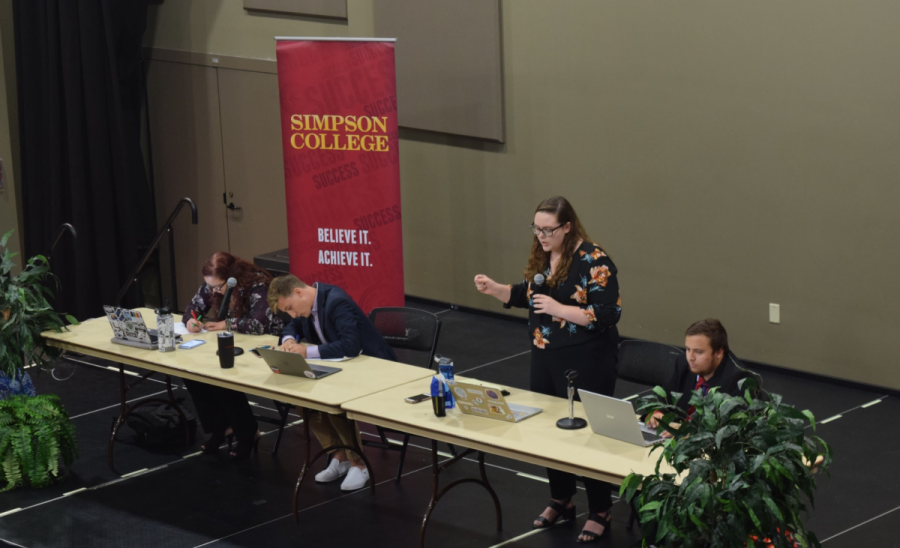 The Simpson debate team has a debate as part of First Amendment week.