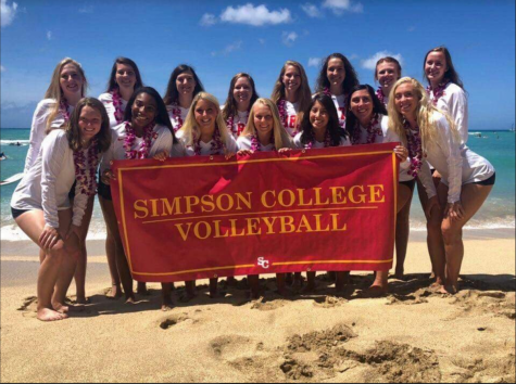 The Volleyball team on the beach in Hawaii.