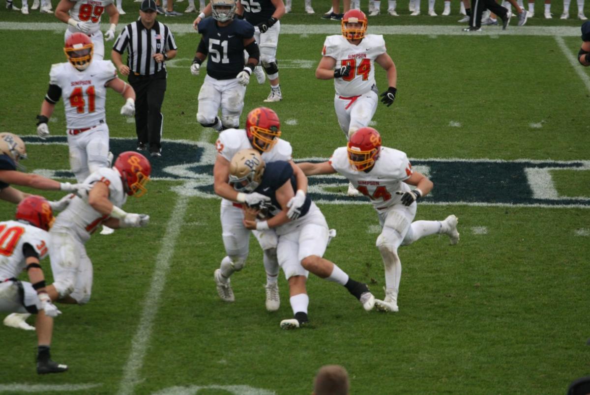 Juniors Carter Patterson and Chris Bowles make a tackle at Bethal.