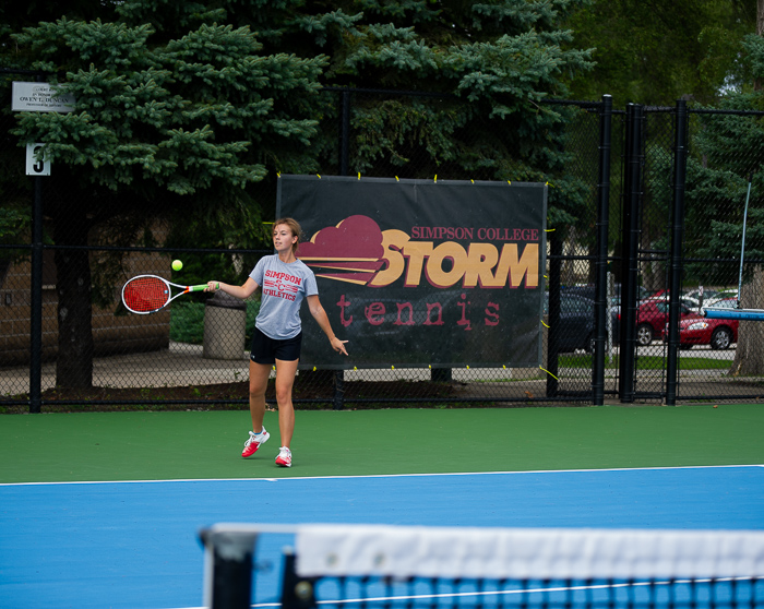 Megan Grubb hits the ball at practice. Photo by Corrine Thomas.
