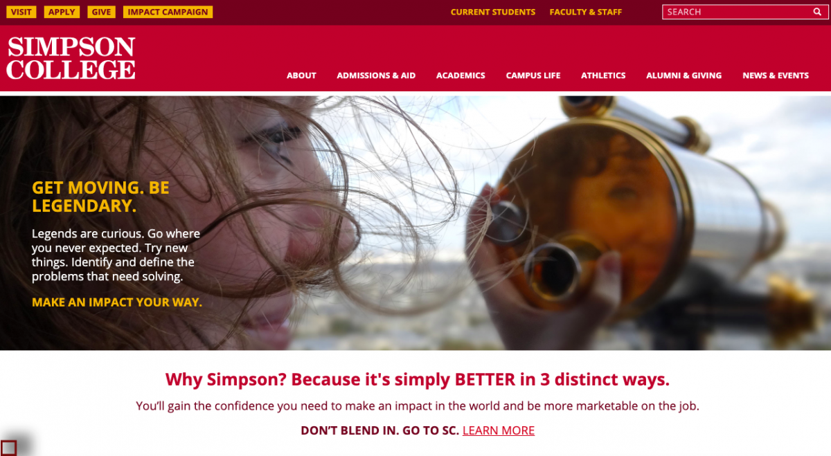 Screenshot of Simpson's new webpage.