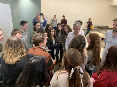 Joe Walsh speaks to students after his event. /photo by Gunnar Davis