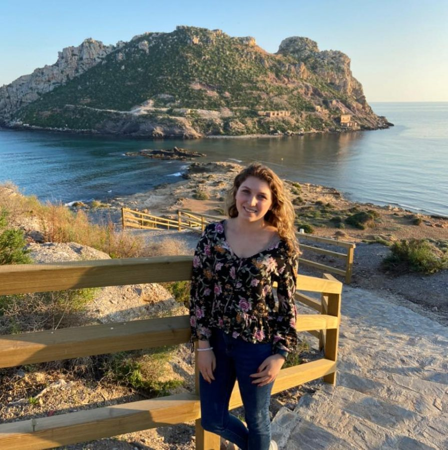 Triniti Krauss poses in front of a mountain in Águilas Spain. Photo submitted to the Simpsonian.