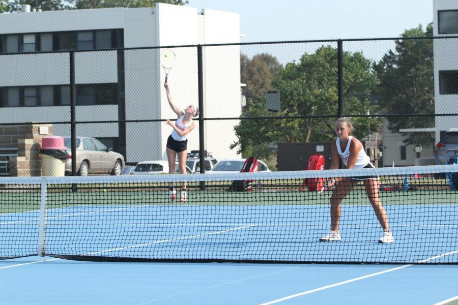 Doubles pair, Anns Wanek and Emily King go to serve.