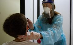 Simpsonian file photo - Simpson student gets tested at the Simpson COVID-19 TestIowa site.