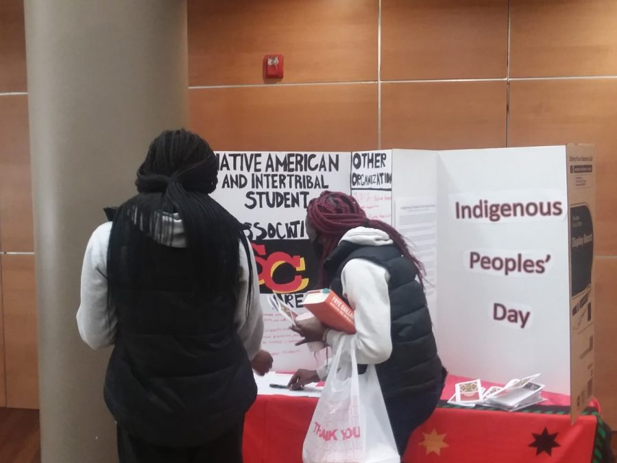 Indigenous People's Day table set up in Kent Campus Center