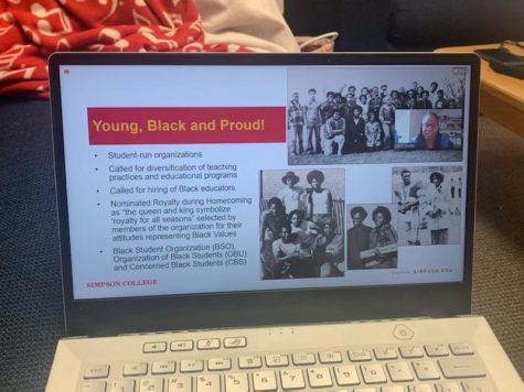 Emili Radke presented a Zoom lecture on Black history at Simpson college Wednesday.