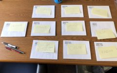 Letters from players on the women's basketball team are being prepared to mail to recruits.