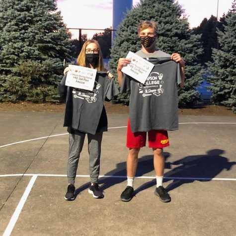 Two minute shooting contest first and second place winners.