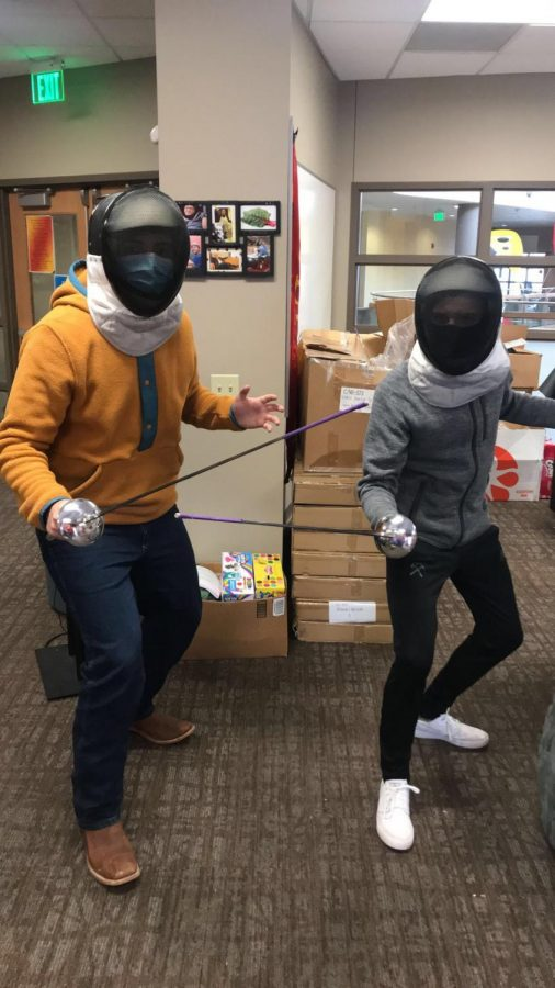 Junior Jorge Castelan (left) and senior Harry Dudley are the cofounders of Simpson's fencing club. Their equipment just arrived in early February after forming the club in the spring of 2020.