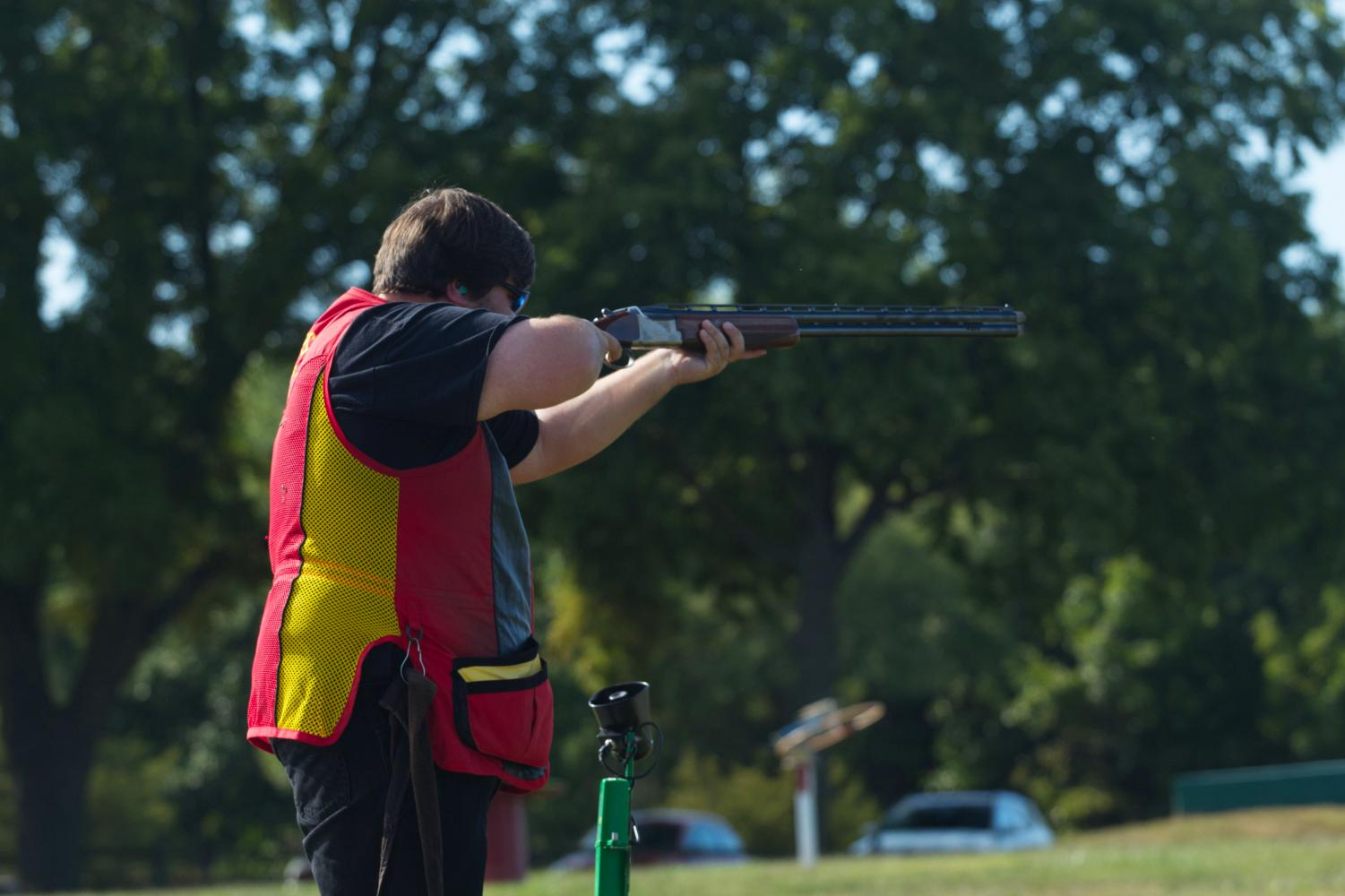Kyle Myers practices his aim.