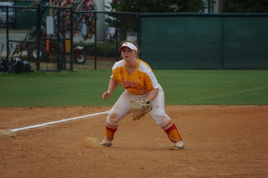 Sara Trent plays third base during the 2019 season in Flordia. Simpsonian archived photo.