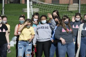 Photo by Jacob Kuehl. Tri Deltas prepare for their first Greek Week kick-off event.