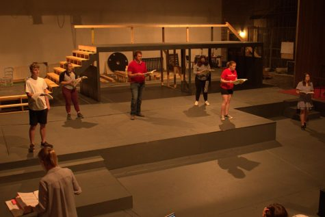 """Members of Simpson Productions rehearse for their two upcoming performances: """"The Enchanted Pig: A Musical Tale"""" and """"As You Like It."""""""