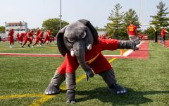 Thunder is Simpson Colleges new mascot after a 17 year period without one. Thunder was unveiled on Sept. 11.