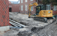 Construction has been in progress beside Dunn Library since the semester first began.