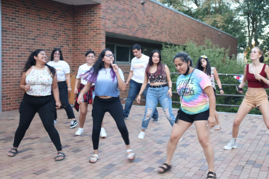 Students gather together to dance during the 2021 Mexican Independence Day celebration.