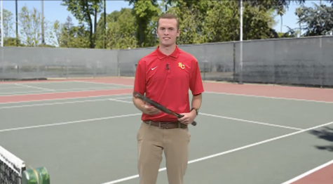 """This summer, Junior Jake Brend created a satirical commercial advertising for tennis lessons with """"the 7th best tennis player on the 6th best Division III team in Iowa."""""""