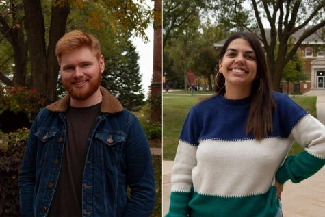 Donal Mackin (left) is a business administration major from Ireland. Maria Lopez (right) is an English major from Spain.