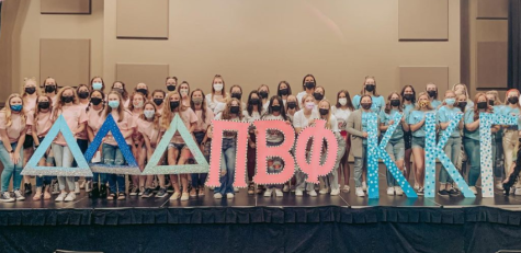 The newest members of the Pi Beta Phi sorority celebrate after an eventful weekend of sorority recruitment.